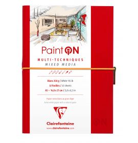 Clairefontaine - PaintON - Mixed Media Book - Sewn Spine - Elastic Closure - 32 Sheets - A5 - White