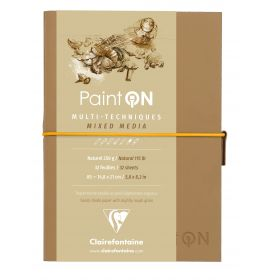 Clairefontaine - PaintON - Mixed Media Book - Sewn Spine - Elastic Closure - 32 Sheets - A5 - Natural