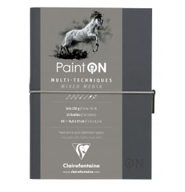 Clairefontaine - PaintON - Mixed Media Book - Sewn Spine - Elastic Closure - 32 Sheets - A5 - Grey