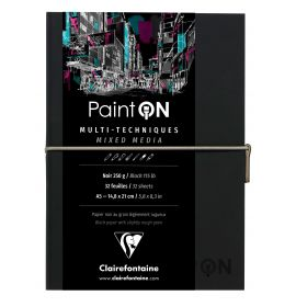 Clairefontaine - PaintON - Mixed Media Book - Sewn Spine - Elastic Closure - 32 Sheets - A5 - Black