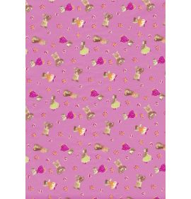 #C/452 Decopatch Pink With Bears 3 sheets of 1 design Decoupage paper 11 3/4 x 15 3/4 3